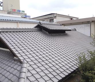 施工後の瓦葺の屋根