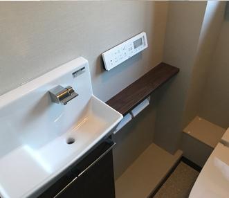 施工後に新しく設置した手洗カウンター